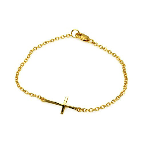 14K Yellow Gold High Polish Sideways Cross Rolo Link Bracelet - 7'' inches by Forever Flawless Jewelry
