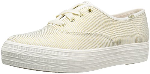 Keds Women's Triple Metallic Stripe Fashion Sneaker, Natural/Gold, 9.5 M US