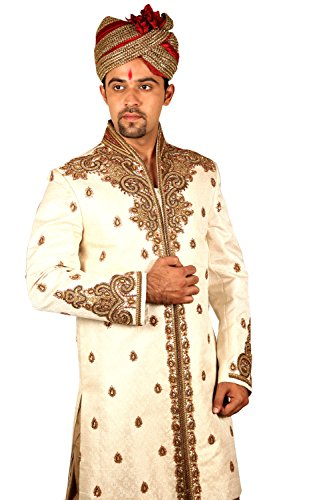 Marvelous Indian Wedding Cream Sherwani For Men by Saris and Things