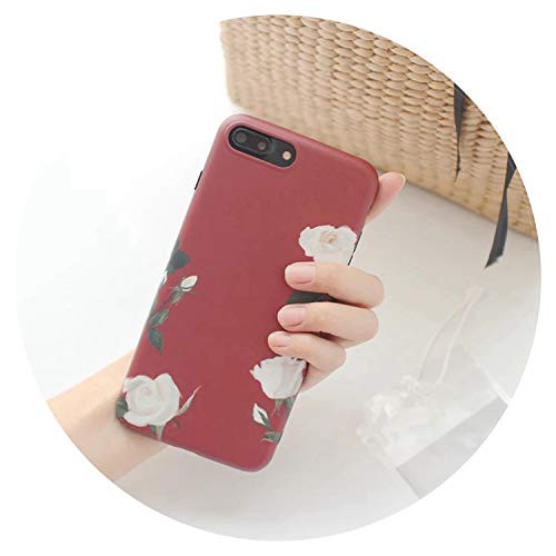 for iPhone 8 7 Case Silicone Leaf Flower Phone Case TPU Matte Soft Back Cover for iPhone XR XS Max X 6 6S 7 8 Plus Case Coque,Red,for iPhone - Ipod Moon Case Touch 5 Sailor