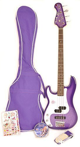 SX Ursa 3 7/8 CPP Purple Left Handed Bass Guitar w/ Carry Bag for Younger Player