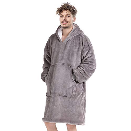 Anjee Oversized Sherpa Hooded Sweatshirt Grau, Superweiche tragbare Decke Sweatshirt für Erwachsene, tragbare Hoodie Sweatshirt Decke mit geräumiger Fronttasche, Einheitsgröße