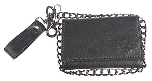Gunmetal Leather Medium Biker Tri-Fold Wallet GM6516L-BLACK ()