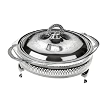 Casserole Dish With Warmer In Silver Plated Frame With Special Tarnish Resistant Finish That Never Needs Silver Polishing