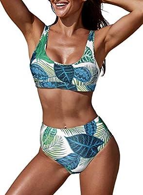 EVALESS Women 2 Pieces Push Up Bikini Floral Print Swimwear Padded High Waist Swimsuits