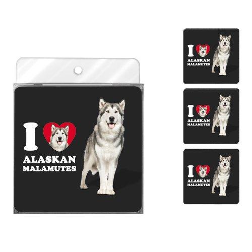 Tree-Free Greetings NC38991 I Heart Alaskan Malamutes 4-Pack Artful Coaster Set