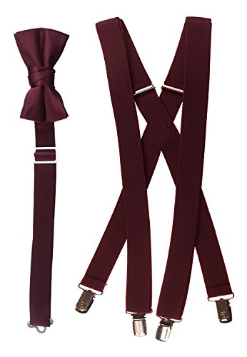 Bow Tie and Suspender Set Combo in Men's & Kids Sizes (30