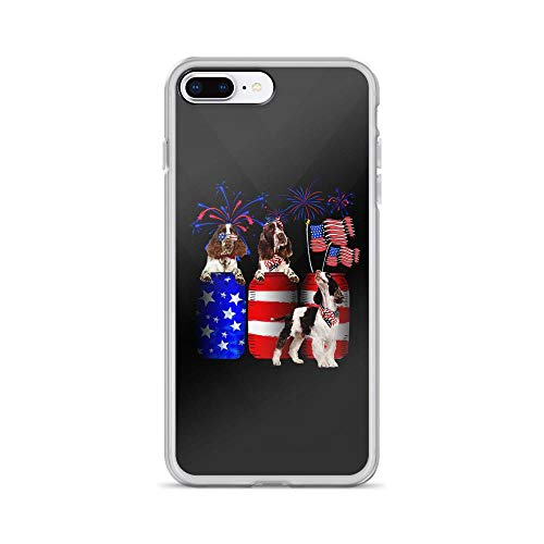 iPhone 7 Plus/8 Plus Pure Clear Case Cases Cover English Springer Spaniel Fireworks American Flag Independence Day Patriotic Animal 4th of July USA