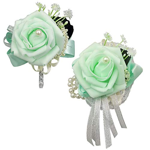 (MerryJuly Wrist Corsage and Boutonniere Set Vintage Artificial Foam Flower Rose Boutonnieres for Wedding Boutonnieres Bride Bridesmaid Corsage Wedding Decor (Mint Green))