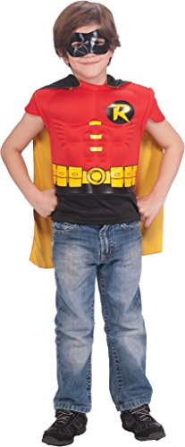 DC Comics Robin Muscle Chest Costume Shirt with Cape and Mask ()