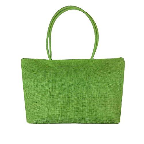 Bolsa Playa de Cremallera de Grande QUICKLYLY Lona de Paja Hombro Verde Mano Bolsa Mujer Shopper Bolso Bolsa con 6x50Sqw