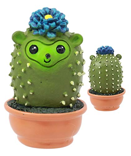 """Ebros Pokey The Cactus Hedgehog in Pot Figurine Whimsical Baby Hedgehog That Transform Into A Succulent Plant Small 2.25"""" Tall Decorative Collectible Statue for Mini Fairy Garden Succulents Accessory"""