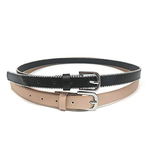 Stud Belt Double - Double Leather Belts for Women, with Pin Buckle and Studs Design (M)