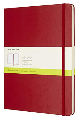 """Moleskine Classic Notebook, Hard Cover, XL (7.5"""" x 9.5"""") Plain/Blank, Scarlet Red, 192 Pages"""