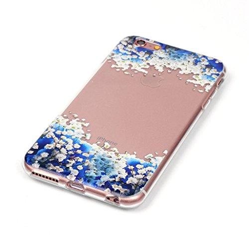 """LH Blau Blumen TPU Hülle Weich Tasche Schutzhülle Silikon Handyhülle transparent Schale Case für Apple iPhone 6 / 6S 4.7"""""""