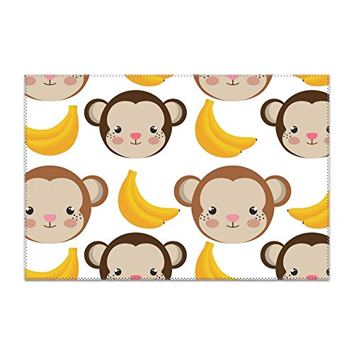 BLACKY Monkey Cartoon and Bananas Placemat Heat-Resistant Washable Place Mats for Kitchen Dining Table Decoration