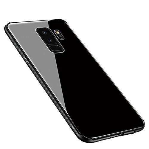 層照らすちょうつがいSDB Galaxy S9 ケース, 背面強化ガラスケース 背面ガラス9H硬度 TPUバンパー Qi充電対応 ストラップホール付き 薄型 レンズ保護 耐衝撃 傷防止 指紋防止 全面保護カバー 耐汚れ 人気 おしゃれ シンプル サムサン ギャラクシー S9 ケース