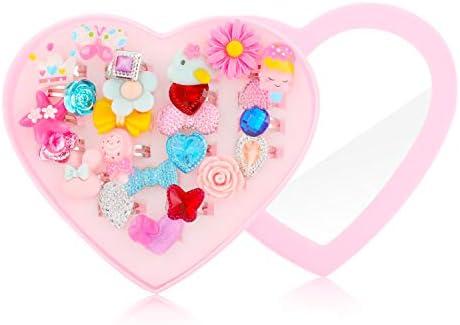 Hifot kinderringe mädchen Prinzessin Schmuck Set 24 Stück, Kristall Verstellbare Ringe für Mädchen mit Herzformkasten, Girl Dress up Rings Fingerringe