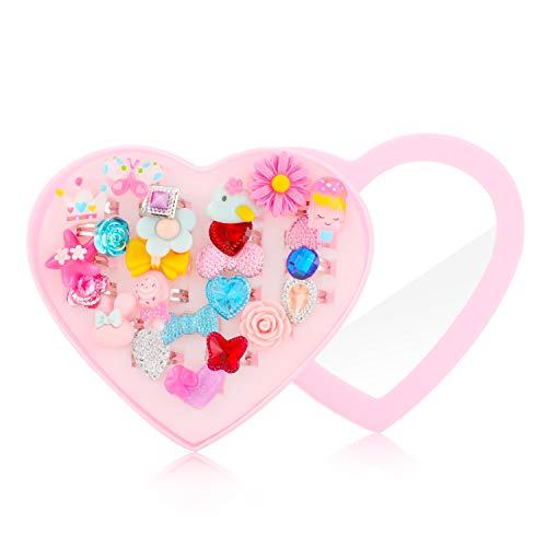 Hifot Anillos niñas 24 Piezas, Ajustables Princesa Joyas Anillos de Dedo con Caja en Forma de corazón, fingir Jugar y…