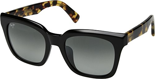 Maui Jim Heliconia GS739-02B | Polarized Gloss Black with Tokyo Tortoise Temples cateye Frame Sunglasses, Neutral Grey Lenses, with with Patented PolarizedPlus2 Lens Technology