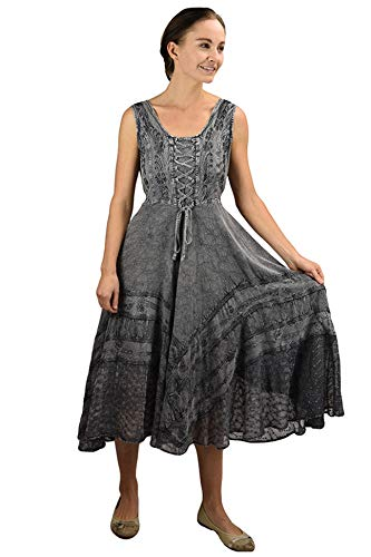 Agan Traders 306 DR Gothic Corset Smocked Sleveless Embroidered Twirl Calf Dress