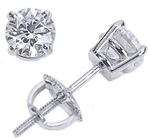 1/2 Carat Solitaire Diamond Stud Earrings Platinum Round Brilliant Shape 4 Prong Screw Back (J-K Color, I2 Clarity)