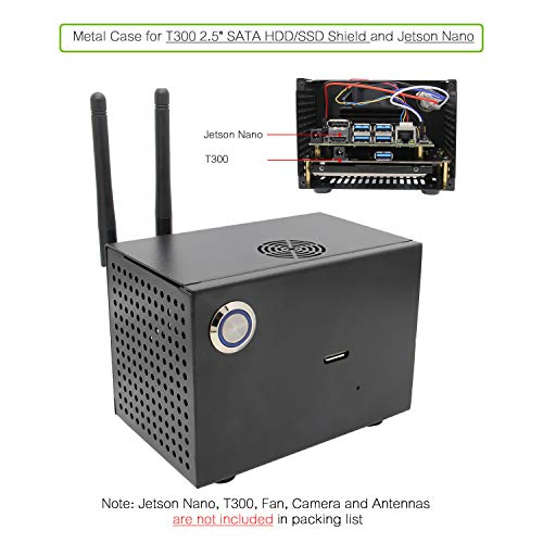 NVIDIA Jetson Nano T300 Metal Case for NVIDIA Jetson Nano Developer Kit and T300 2.5 inch SATA SSD/HDD Shield