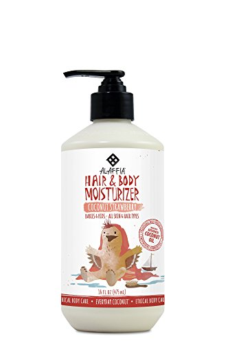 Alaffia - Everyday Coconut Hair and Body Moisturizer, Gentle for Babies and Up, Supports Soft, Smooth Hair and Skin with Hibiscus and Coconut Oil, Fair Trade, Strawberry, 16 Ounces by Alaffia