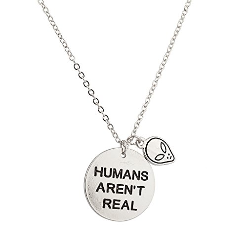 [Lux Accessories Alien Head Humans Aren't Real They Exist Pendant Necklace.] (Alien Costume Woman)