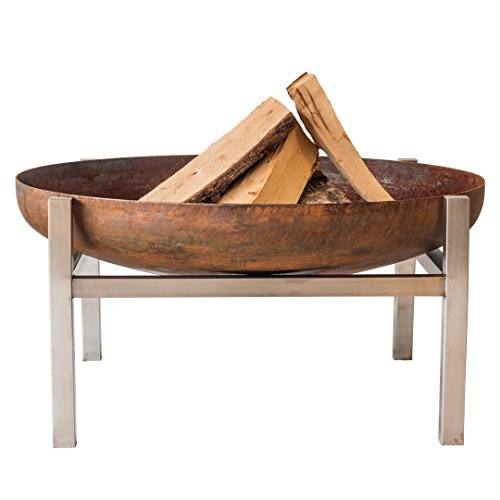 Modern Outdoor Patio Rust & Stainless Steel Fire Pit PARNIDIS (Large)