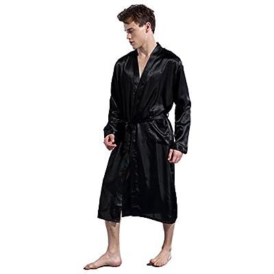 Ztl Men's Long Satin Kimono Robe Bathrobe Lightweight Soft Silk Sleepwear