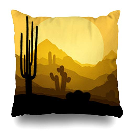 Hitime Throw Pillow Cover Sand Cactus Plants Desert Sunset in Nature Clouds Orange Arizona Western Southwest Mountain Decorative Pillowcase Square Size 18 x 18 Inches Home Cushion Cases