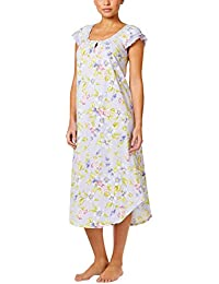 Floral Print Heirloom Detailed Flutter Sleeve Nightgown
