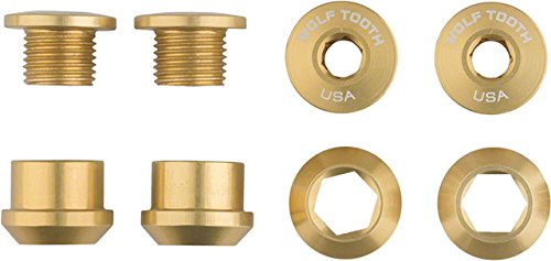 Wolf Tooth Components 1x 6mm Chainring Bolt: Gold Set of 4 Dual Hex Fittings ()