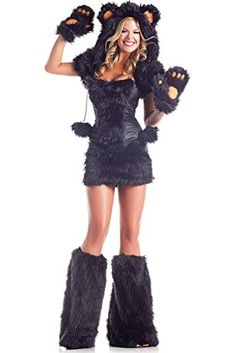 Sexy Goldilocks Costumes (Sexy Bear Adult Costume Black Bear - Medium/Large)