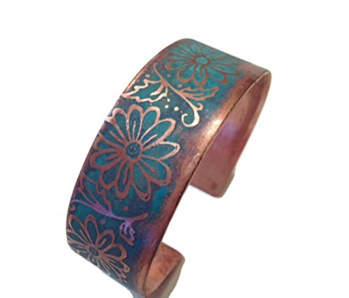 Etched Daisy - Daisy Etched Patina Copper Cuff 3/4
