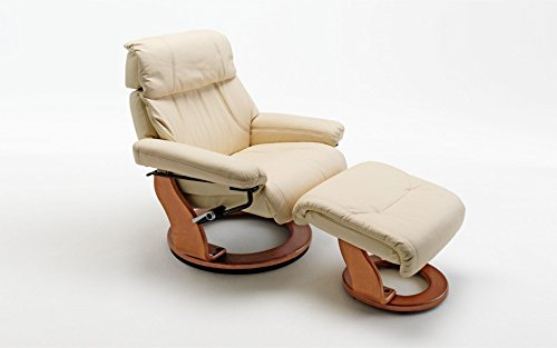 Excl. Baidani Designer Relax-Chair CUPIDO m. Hocker Rindsleder - Creme Honigfarben