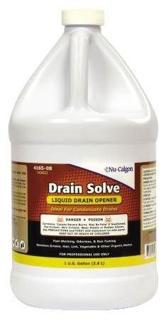Nu-Calgon Drain Solve Liquid Drain Opener, 1 Gallon, 4 Per Case