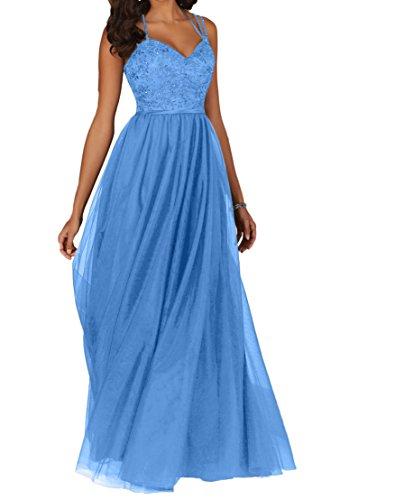 Damen Charmant Herzausschnitt Promkleider Spitze Blau Abschlussballkleider Lang Abendkleider Ballkleider dZqHSp4wZx
