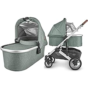 UPPAbaby-Cruz-V2-Stroller-Emmett-Green-MelangeSilverSaddle-Leather-Bassinet-Emmett-Green-MelangeSilver