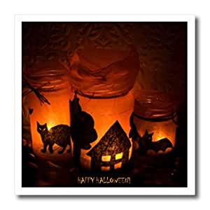 ht_6025_3 Sandy Mertens Halloween Designs - Halloween Cat, House and Bat Luminaries - Iron on Heat Transfers - 10x10 Iron on Heat Transfer for White Material