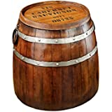 Design Toscano French Vineyard Decor Wine Barrel Side Table, 19 Inch, Metalware, Full Color