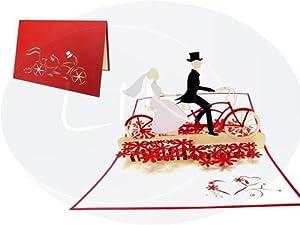 POP UP 3D Karte Hochzeitskarten Hochzeitseinladung Glückwunschkarten Liebe...