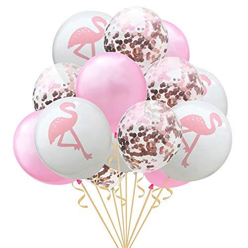 Ballons & Accessories - 15pcs 12inch Flamingo Pineappleturtle Leaf Latex Balloons Confetti Birthday Hawaii Decor - Goop Ballons Equipment Balloon Chain Accessories Balloons Plastic ()