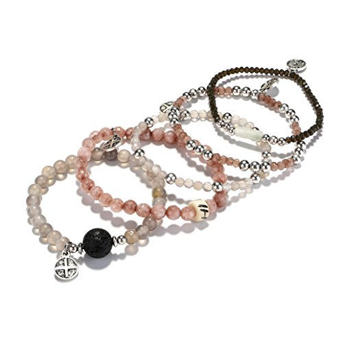 tom+alice Natural Stone Beads Stretch Bracelets for Women with Lava Stone Multilayer Bohemian Set Beaded Bangle Bracelets Grey Agate Silver by tom+alice (Image #2)