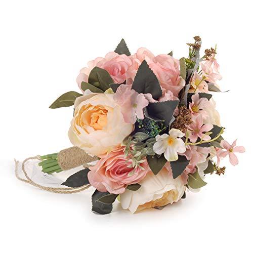 웨딩 부케 라운드 부케 신부 브라이들 부케 꽃다발 조화 생일 선물 결혼식 2차 모임 촬영 화이트×핑크