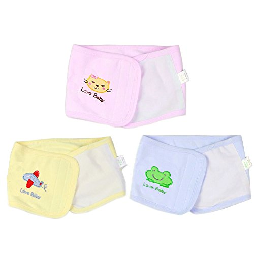 Fairy Baby Double Layers Cotton Umbilical Hernia Truss Baby Belt Animal Pattern Pack of 3,Fit Waist 15.5