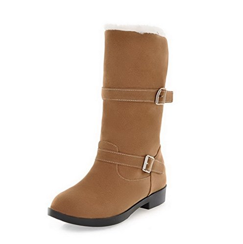 Pull Snow Round On Top Brown Low Heels WeiPoot Low Toe Closed Women's Boots Frosted q8txfPw