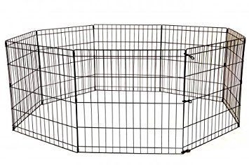 (BestPet 24 Tall Foldable Dog Playpen Crate Fence Pet Kennel Play Pen Exercise Cage 8 Panel Black)