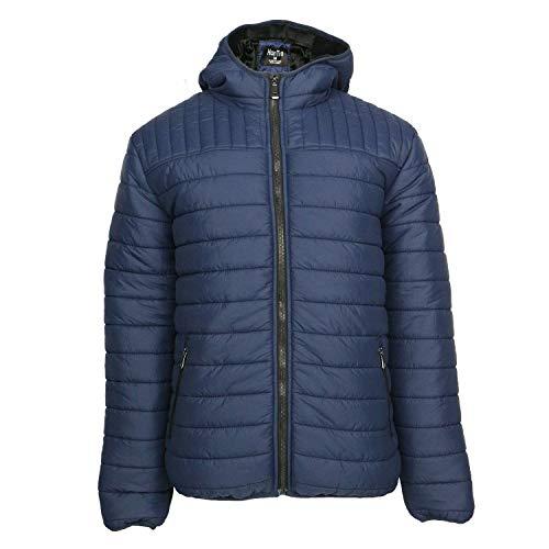 Men's Hooded Packable Jackets Lightweight Insulated Puffer Jackets Full Zip Winter Travel Cotton Coat Navy -